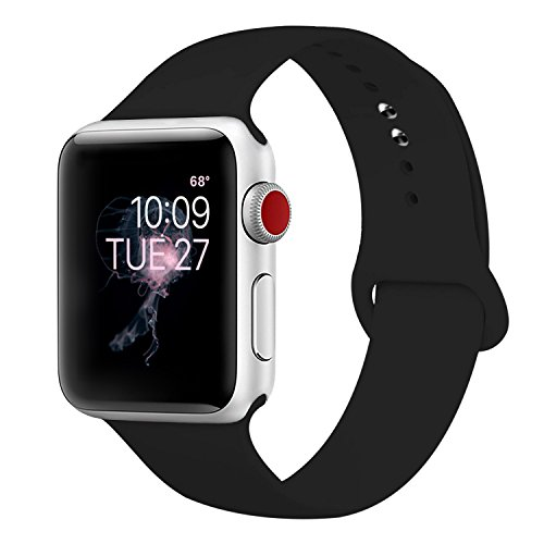 Price comparison product image ENANYN Compatible Apple Watch Band 38mm Soft Silicone Sport Wrist Strap iWatch Replacement Bracelet Wristbands for Apple Watch Series 3,2,1 of Size S/M,Black