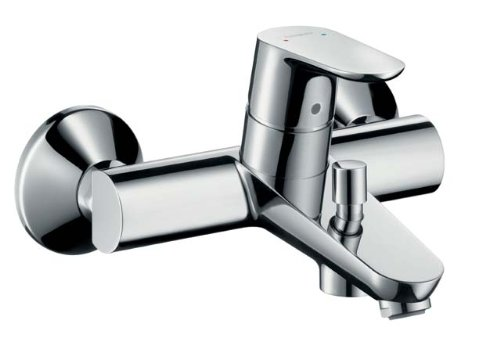 Hansgrohe Wannen-Einhebelmischer Focus Wandmontage mit Rückflussverhinderer, verchromt, 31940000