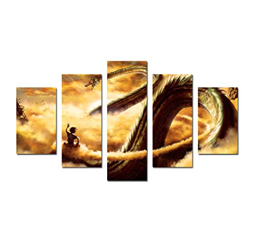 Hong yi art-Canvas Print,Giclee Artwork,Stretched and Framed,Paintings Large Wall Art 5 Panel Set HD Picture Poster Printed On Canvas Cartoon Dragon Ball Z Painting Decor Living Room Office Home - Ball Valentine Dragon