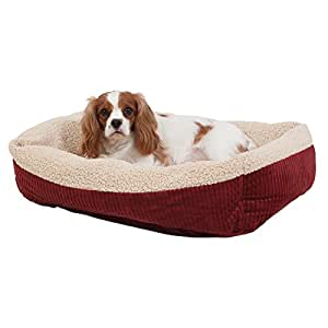 "Aapen Pet Self Warming 30"" X 24"" Rectangular Lounger, Barn Red/Cream"