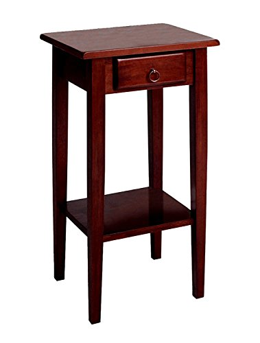 Narrow Phone Stand End Table with Storage Drawer Handle Rustic Classic Style Lower Bottom Shelf Tall High Hallway Entryway Living Room Home Office Furniture Wooden & eBook by Easy&FunDeals Review