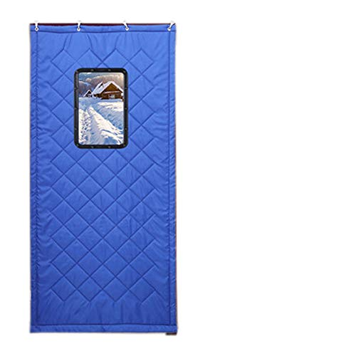 (Door Curtain Warm Winter Noise Air Windshield Keep Warm Waterproof Door Curtain Soundproof Transparent Window Door Curtain Winter Reusable,Wind-Shield Curtain,Blue,120220cm)
