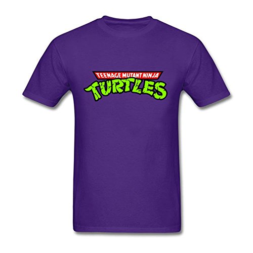 [Geek Men's Teenage Mutant Ninja Turtles Text Logo O-Neck Short Sleeve T-Shirt Purple M Costume] (Joni Mitchell Costume)