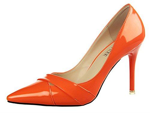No.66 Pompes Stiletto Des Femmes De La Ville Haute Robe Talon D'orange