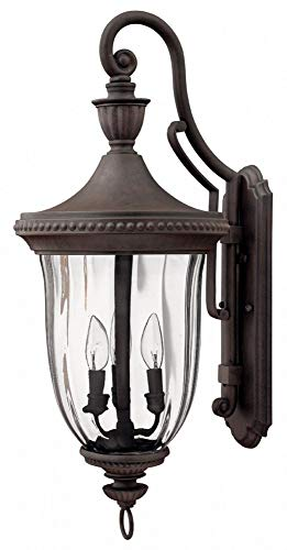 Hinkley 1245MN Oxford Collection Wall Sconce, Midnight Bronze Finish - Clear Optic