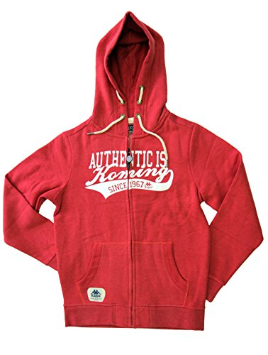 (Kappa Slim Fit Italian Designer's Mens Authentic Full Zip Hooded Fleece Winter Jacket (Red, Medium))