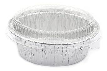 """Aluminum Foil Disposable 4-3/8"""" Mini Pot Pie, Food, Tart Pans, Mini Pie Pans with Plastic Cover Lids, 1 pack 20 Sets."""