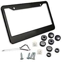 Zone Tech Matte Aluminum License Plate Frame - Classic Black Premium Quality Novelty/License Plate Frame with Screw Caps