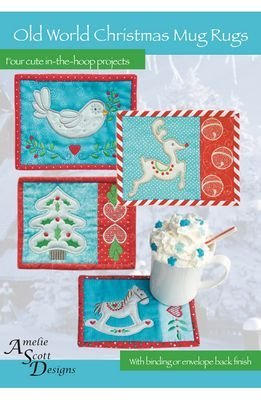 Old World Christmas Mug Rugs In the Hoop Machine Embroidery by Amelie Scott Designs