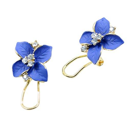 Dangling Crystal Brooch (JSPOYOU Gardenia Flower Drop Crystal Earrings Women Gift New Arrival (Blue))