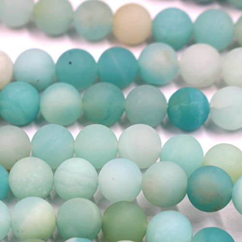 Tacool Natural Unpolished Frosted Amazonite Round Gemstone Jewelry Making Beads Findinds Supplies (A 8mm)