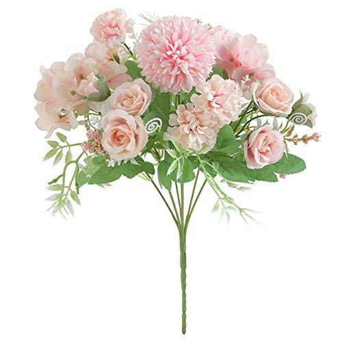- zzJiaCzs Artificial Rose Flower,1Pc Artificial Rose Flower Wedding Bridal Hand Bouquet for Party Home Floral Decor - Light Pink