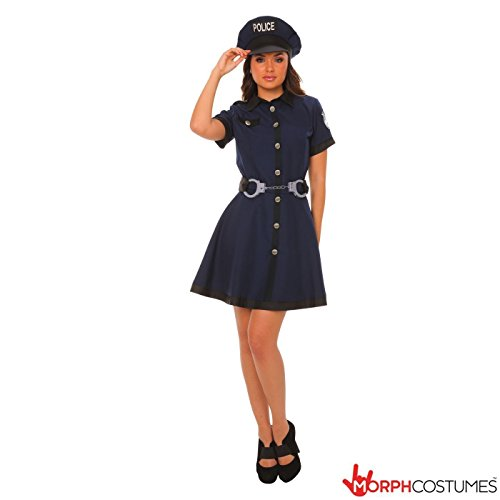 Women's Cop Costume Uk (Womens Sexy Policewoman Cop Uniform Fancy Dress Costume - 4 Piece Quality Costume)