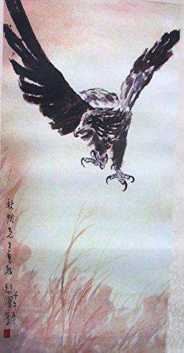 TOKYO-T Japanese Scroll Wall Art Kakejiku Wall hanging Fabric Poster Oriental (Eagle) -