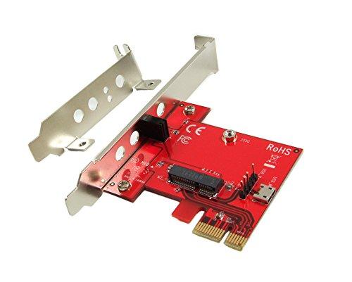 Ableconn PEXM2150E PCI Express x1 Adapter Card with M.2 Key E Socket - Support M2 E Key or A-E Key WiFi or Bluetooth Module