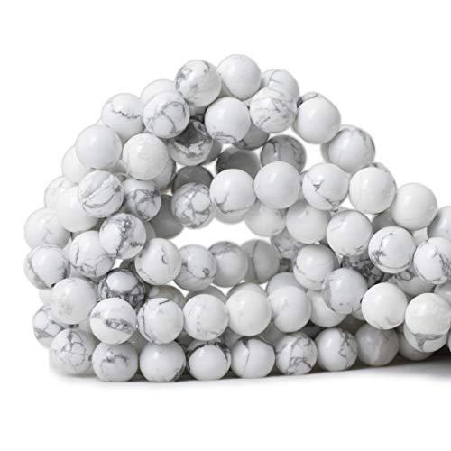 Qiwan 35PCS 10mm Gorgeous Natural White Howlite Round Beads Gemstone Loose Beads for Jewelry Making 1 Strand - Beads Howlite Strands