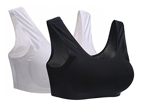 BRABIC Women's Bralettes Yoga bras Seamless Underwire Minimizer Bra Padded Pack of 3 (One Size, BlackWhite)