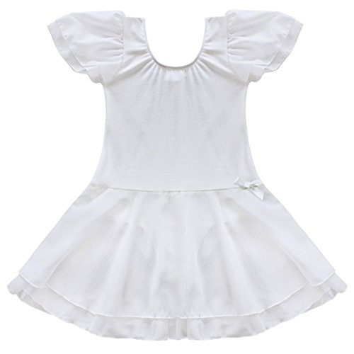 TiaoBug Girls Ballet Tutu Dance Costume Dress Kids Gymnastics Leotard Skirt Size 5-6 (Dance Costumes White)