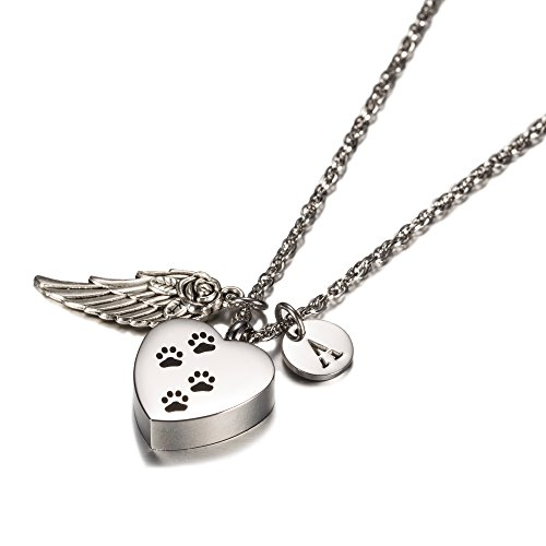 AMIST Dog Paw Print Heart with Angel Wing Charm Initial Necklace Pet Memorial Ashes Holder Keepsake