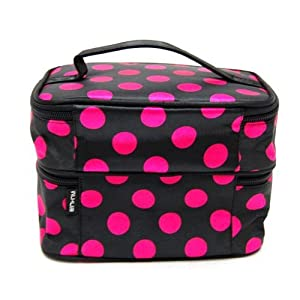 Traveling Makeup Bag Dots Black with Red Double Layer Cosmetic Bag