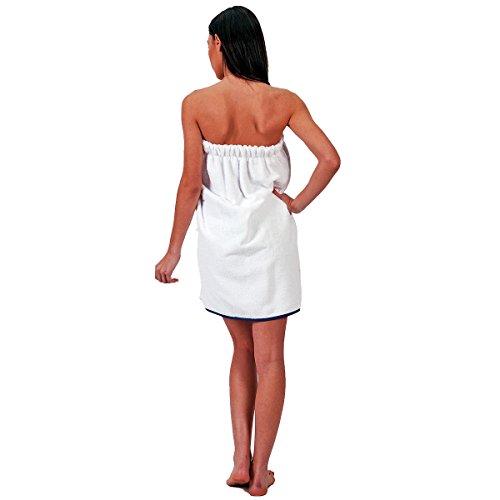 Pareo toalla bordado 450gr/m² marina, blanco, 70 x 140 Blanco