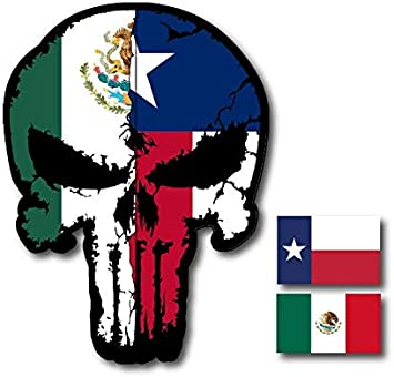 Various Sizes ships free Punisher Decal State of Texas Flag Vinyl Decal