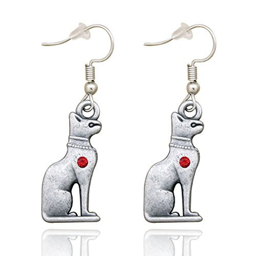 RechicGu Vintage Silver Bastet Cat Tribal Egyptian Cleopatra Ancient Silver Bast Earrings Wicca Pagan