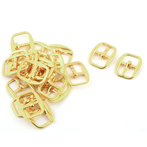 uxcell Metal Rectangle Shape Single Prong Pin Needle Shoes Clips Buckles 21pcs Gold Tone