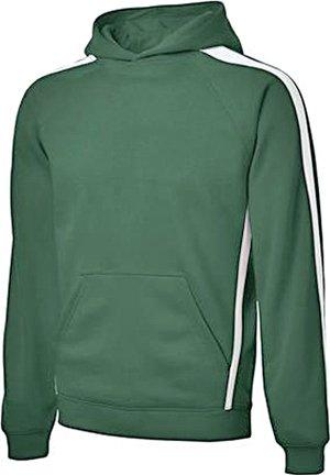 Sport-Tek ST265 Sleeve Stripe Pullover Hooded Sweatshirt - Forest Green/White - S by Sport-Tek