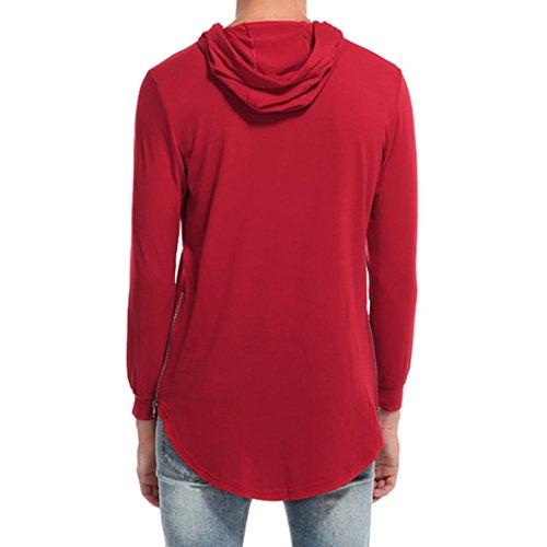 Longues T Automne Rouge Casual À Homme Aimee7 Manches Capuche Blouse Shirt Sweat Az0Xq0Sp7