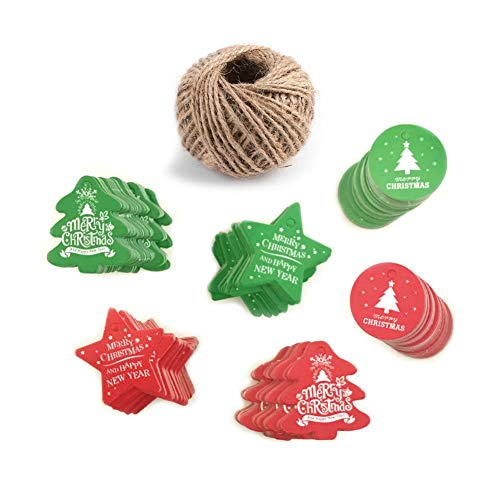 AKOAK Assorted 6 Styles 120 Pieces Merry Christmas Letter Paper Labels Christmas Tree Pendants Decorations Home Gift Package Tags Hanging Tags