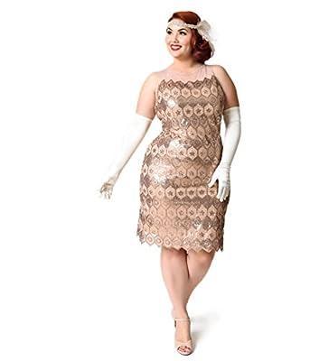 Unique Vintage Plus Size Bronze Geometric Sequin Clifton Flapper Dress