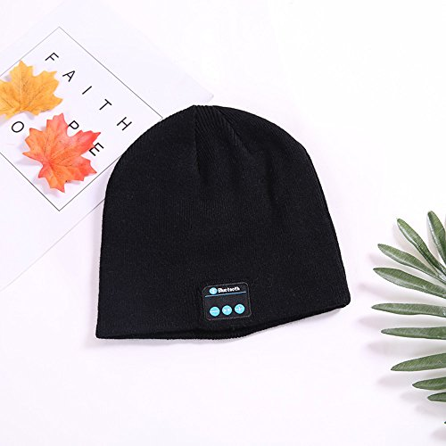 Bluetooth Beanie Hat for Men Women---Black Wireless Bluetooth Headset Hat Music Hat with Built-in Stereo Speakers Fit for Outdoor Sports, Skiing ,Running, Skating, Walking
