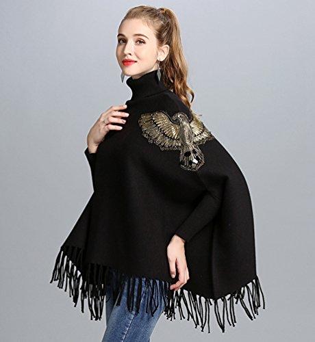 Alto Chaqueta De WanYang De Mantón Elegante Punto Negro Pulóver Cuello Mujer Chal Casual Suéter Borla De Mangas Largas wwUqR