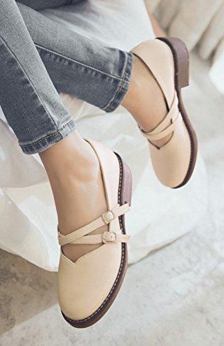 Aisun Mujeres Comfort Cute Elegant Dressy Round Toe Correa Abotonada Chunky Low Heel Mary-jane Bombas Zapatos Beige
