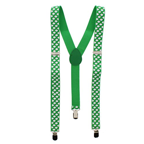 Zac's Alter Ego Fancy Dress St. Patrick's Day Clover Leaf 2.5cm Braces
