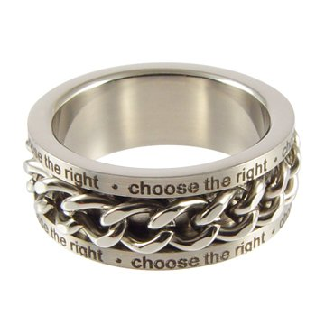 LDS Mens Stainless Steel Chain Spinner CTR Choose the Right Ring - LDS Rings, Mens CTR Ring, Boys (Mens Ctr Rings)
