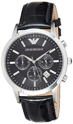 : Emporio Armani Men's AR2447 Dress Black Leather Watch