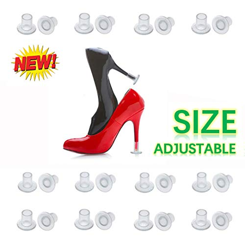 [2019 New] High Heel Protectors Adjustable Size 12 Pairs Heel Stoppers for Grass Wedding Outdoor Events Womens Shoes Guards Heel Covers Small/Middle/Large Size Clear