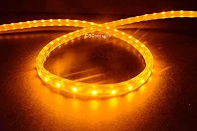 CBConcept® 40 Feet 120 Volt LED SMD3528 Flexible Flat LED Strip Rope Light - [Christmas Lighting, Indoor / Outdoor rope lighting, Ceiling Light, kitchen Lighting] [Dimmable] [Ready to use] [3/8 Inch Width x 1/4 Inch Thickness]