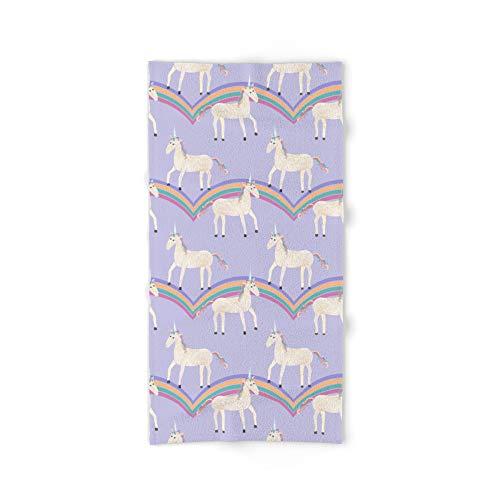 Society6 Bath Towel, 64'' x 32'', Unicorn Pattern on Pastel Purple by tangerinetane by Society6