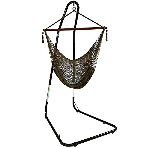 Sunnydaze Hanging Rope Hammock Chair Swing with Adjustable Stand, Extra Large Caribbean, Mocha – for Indoor or Outdoor Patio, Yard, Porch, and Bedroom Review