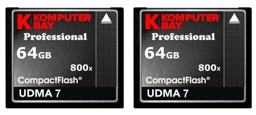 KOMPUTERBAY 2 PACK - 64GB Professional COMPACT FLASH CARD CF 800X 120MB/s Extreme Speed UDMA 7 RAW 64 GB