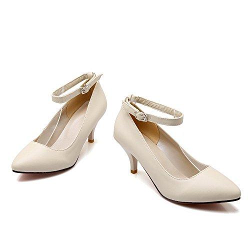 Balamasa Boucle Pour Femme Haut Taille Basse Bout Pointu Pompes À Uréthane Chaussures Beige