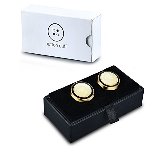 Gold Swirl Button Covers - Cuff Link Alternative for Shirts, Cuffs, Collars and Jackets (G-11 US) by Button Cuff (Image #2)