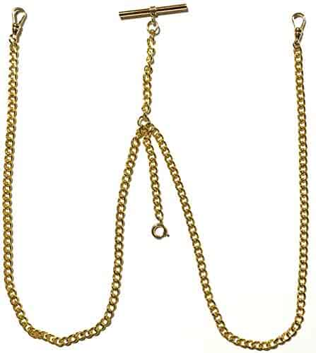 Pocket Watch Double Albert Chain 14K Gold Filled with T-Bar - Made in USA