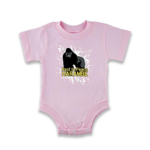 [Rest In Peace Harambe The Gorilla Pink 12M Infant Bodysuit by Pop Threads] (Pink Gorilla Suit)