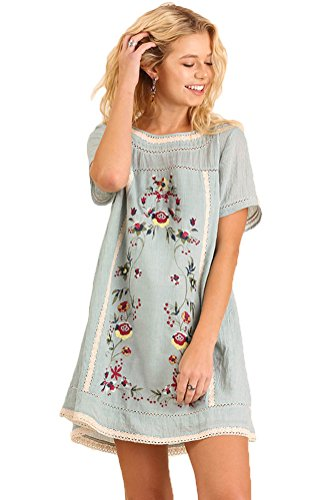 Umgee Women's Casual Style Bohemian Embroidered Short Sleeve Poly Cotton Dress Or Tunic (M, Blue)