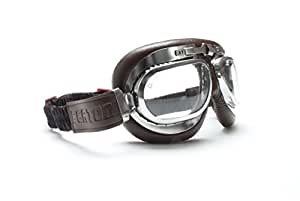 Motorcycle Goggles Brown leather with Antifog and Anticrash lens - Chrome plated Steel Frame - by Bertoni Italy-AF191CRB (Brown)