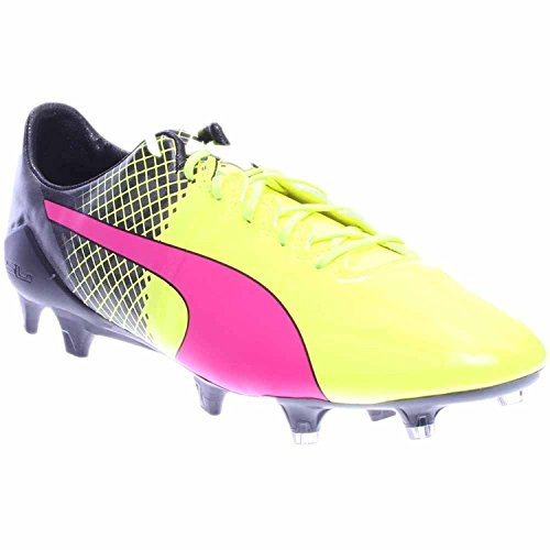 Puma Evospeed 1.5 Tricks FG Mens Pink Leather Athletic Lace Up Soccer Shoes, rosa fluo, giallo, nero (Pink Glow, Safety Yellow, Black), 45 D(M) EU/10.5 D(M) UK